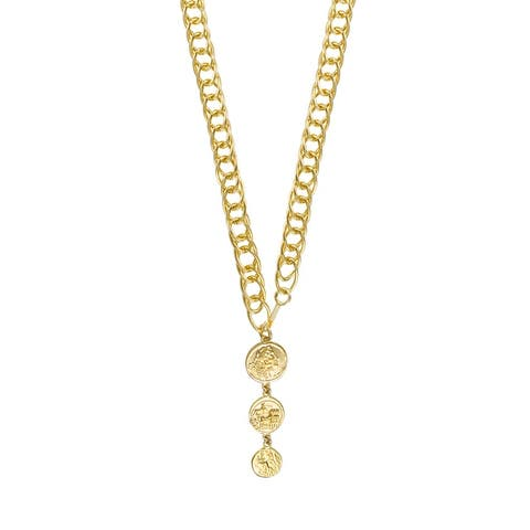 """BRONZORO 18 K gold Plated over Bronze Long Drop Coins 46"""" Necklace"""
