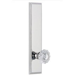 Grandeur CARVER_TP_PRV_234_RH  Carre Solid Brass Rose Right Handed Tall Plate Privacy Door Knob Set with Versailles Crystal Knob