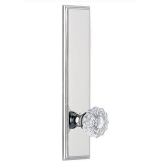 """Grandeur CARVER_TP_PSG_238  Carre Solid Brass Rose Tall Plate Passage Door Knob Set with Versailles Crystal Knob and 2-3/8"""""""