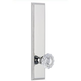 Grandeur CARVER_TP_SD_NA  Carre Solid Brass Rose Tall Plate Single Dummy Door Knob with Versailles Crystal Knob