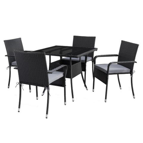 CorLiving Parksville Square Patio Dining Set- Stackable Chairs - Black Finish/Ash Grey Cushions 5pc