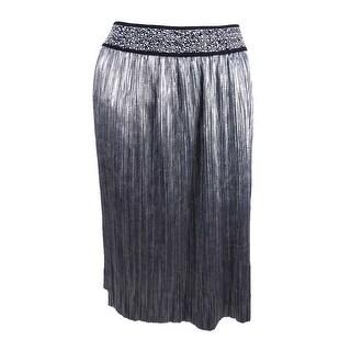 MSK Women's Metallic A-Line Skirt - Silver