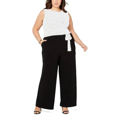 Tommy Hilfiger Womens Jumpsuit Black White Size 20W Plus Polka Dot