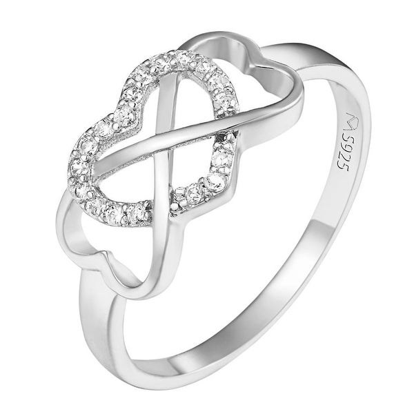 Heart Infinity Knot Ring 925 Sterling Silver Promise Simulated Diamonds Unique