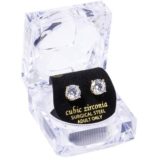 Link to 8mm Round White CZ Stud W/Crystal Gift Box Earrings by Simon Frank Designs Similar Items in Earrings