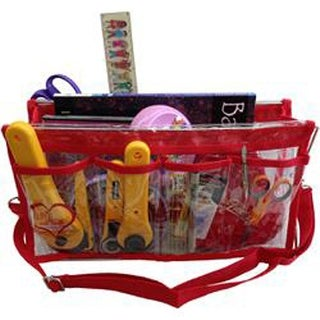"""Clear W/Red Trim - Deluxe Handy Caddy 14""""X7""""X5"""""""