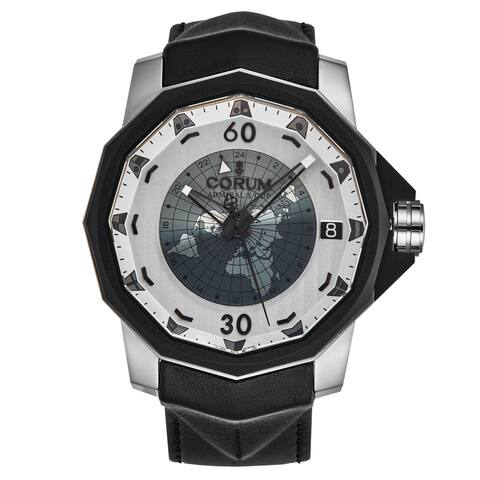 Corum Men's A171/04203 'Admiral Challenger' Grey Dial Day/Night Leather Strap Automatic Watch