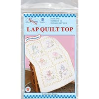 "Stamped White Lap Quilt Top 40""X60""-Sunbonnet Sue"