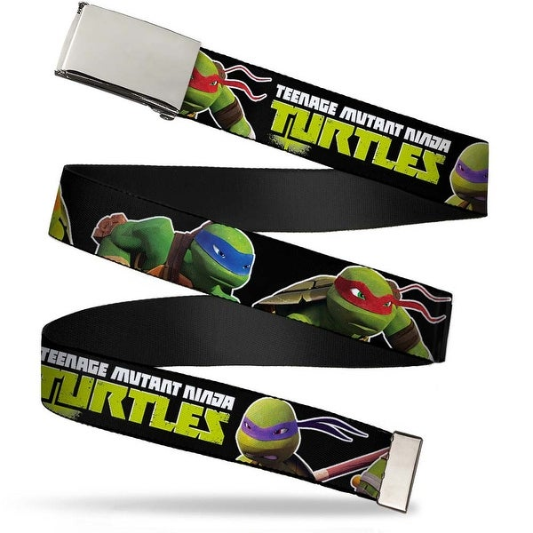 Blank Chrome Buckle New Series Teenage Mutant Ninja Turtles Logo1 Web Belt