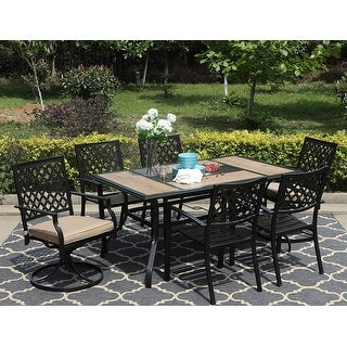 Link to MFSTUDIO 7PCS Patio Dining Set, Large Rectangular Wood Like Top Table with 4 Metal Chairs and 2 Swivel Chairs Similar Items in Patio Furniture