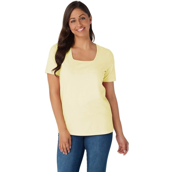 Denim & Co. Womens Plus Jersey Short Sleeve Square Neck Top 1X Yellow A200149. Opens flyout.