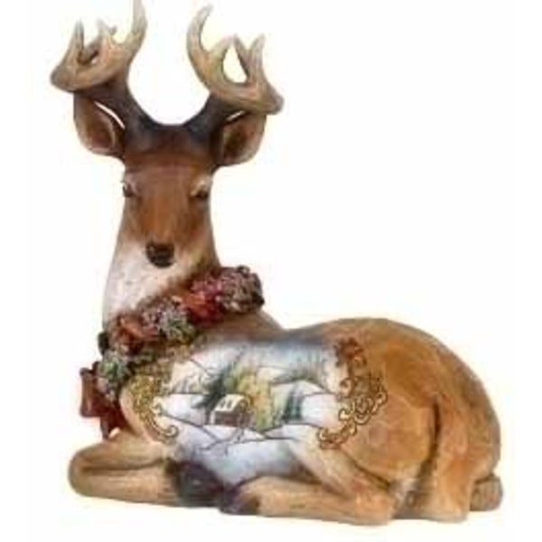 "6"" Joseph's Studio Snowfall Valley Sitting Scenic Deer Christmas Figure - brown"