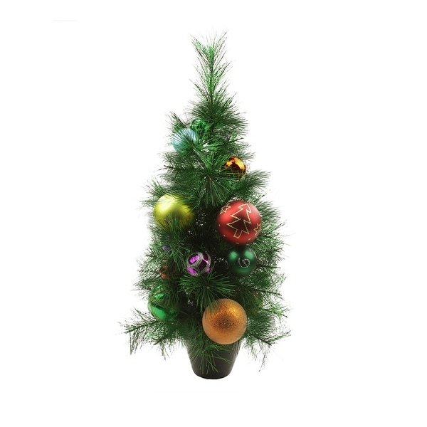 2' Potted Pre-Decorated Multi-Color Ball Ornament Artificial Christmas Tree - Unlit - green