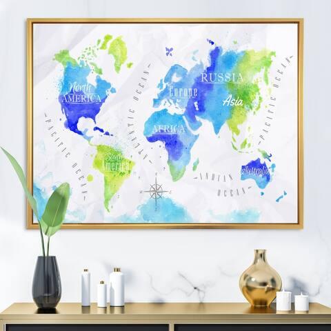 Designart 'World Map In Green and Blue' Modern Framed Canvas Wall Art Print