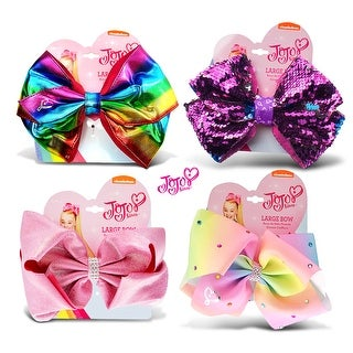 "Jojo Siwa Rainbow Metallic, Pink Glitter, Purple Sequin & Pastel Rainbow Ponytail Bows w/ Rhinestones 7""x5""(4 Items)"