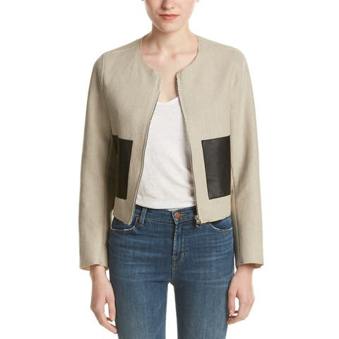 Sandro Virgie Linen-Blend & Leather-Trim Blazer