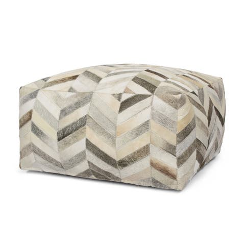 Pingree Handcrafted Boho Cowhide Pouf by Christopher Knight Home