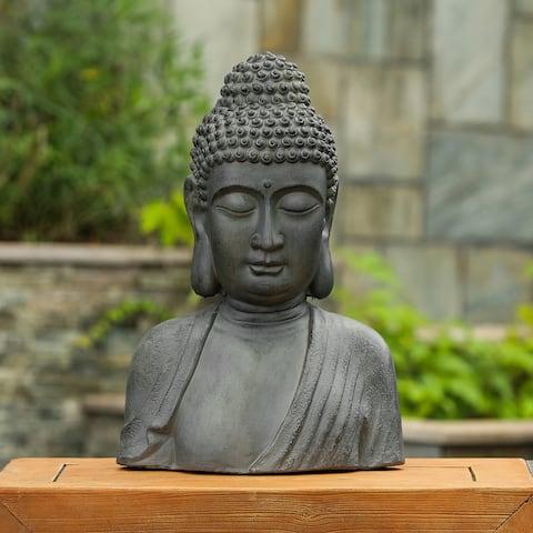 Gray MgO 16.1in. H Buddha Bust Garden Statue