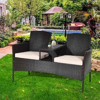 Costway Patio Rattan Conversation Set Loveseat Sofa Cushioned Coffee