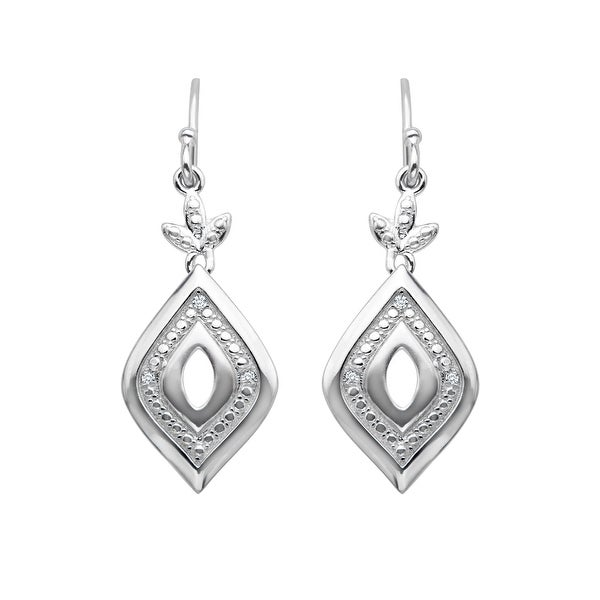 Marquise-Shaped Drop Earrings with Diamonds in Sterling Silver