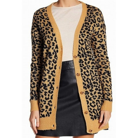 Abound Yellow Women's Size XXS Button Down Cardigan Leopard Sweater