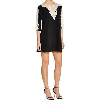 French Connection Womens Tunic Dress Lace Trim Elbow Sleeves