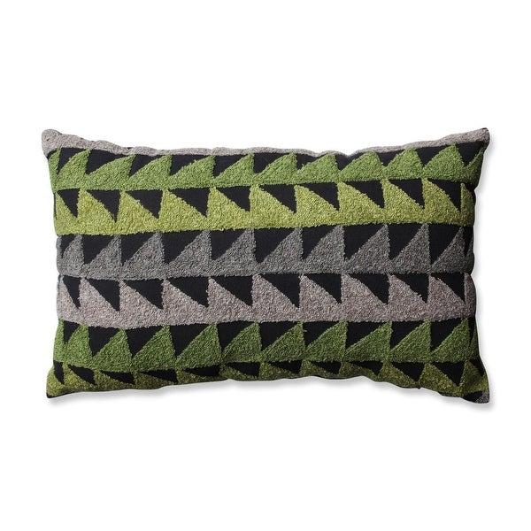 "18.5"" Green, Gray and Black Samba Geometric Decorative Indoor Throw Pillow"