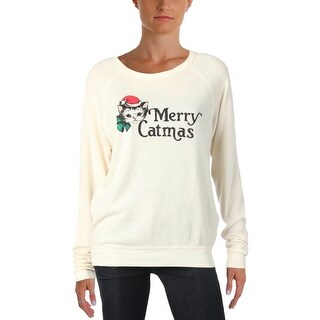 Project Social T Womens Merry Catmas Sweatshirt Graphic Distressed