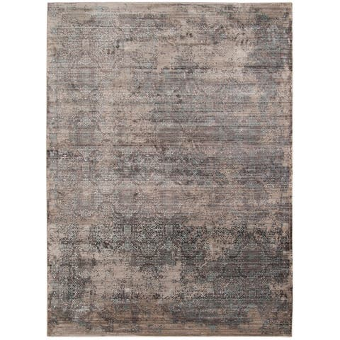 Savannah Rich Graphite Gray/Tan Polyester Area Rug