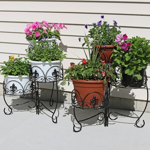 Sunnydaze Set of 2 French Lily Design Three Tiered Metal Flower Plant Stand -22""