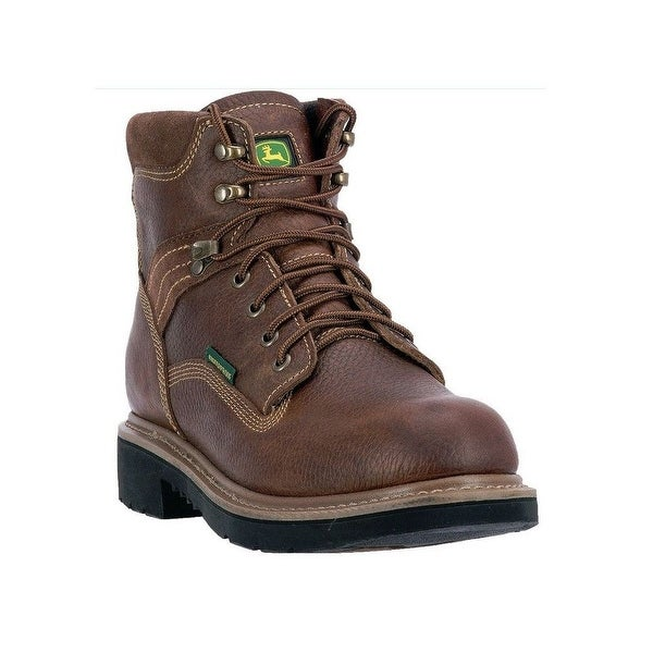 "John Deere Western Boots Mens 6"" WP ST EH Lace Up Welt Brown"