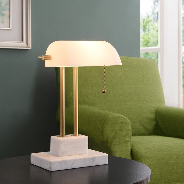 Ensemble Desk Lamp - Antique Brass with Marble Base. Opens flyout.