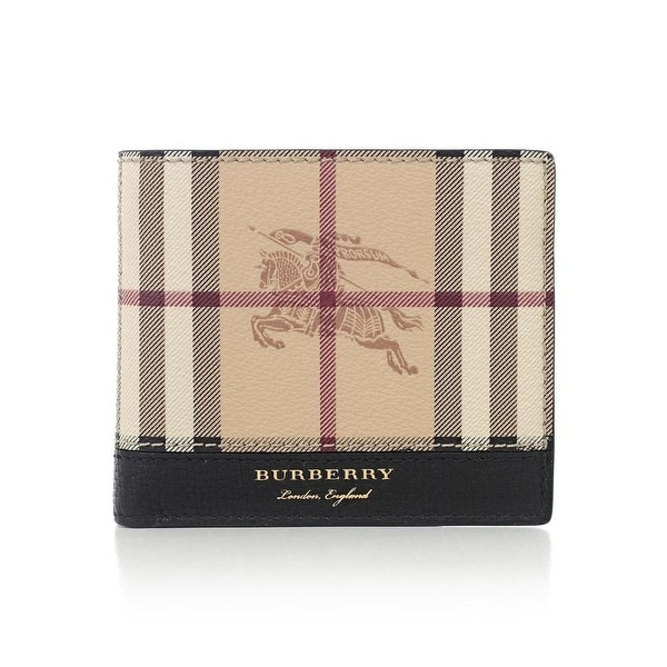 54dc358f40a5 Shop Burberry Men s Check Leather Bifold Wallet - Free Shipping Today -  Overstock - 20506487