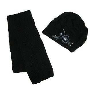 Jeanne Simmons Women's Scarf and Hat Winter Set with Flower Accent - One size