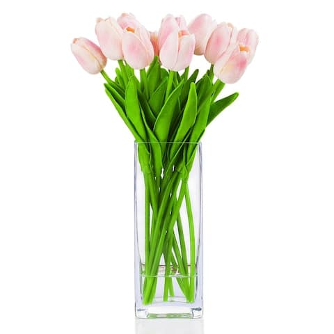 Enova Home Artificial Real Touch Tulips Fake Silk Flowers Arrangement in Glass Vase with Faux Water for Home Wedding Decoration