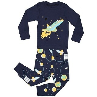 Elowel Little Boys Blue Space Rocket Print Cotton 2 Pc Pajama Set