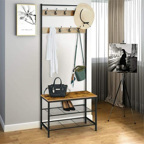 Industrial Coat Rack, Entry Bench With Coat Rack, Wood Look Accent Furniture Metal Frame, 3 in 1 Design, Easy Assembly, 9 hooks