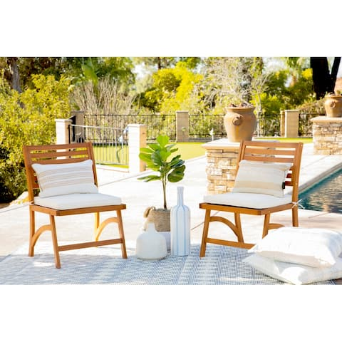 Oarcha Natural Wood Cushioned Outdoor Side Chairs (Set of 2) by Havenside Home
