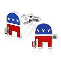 Bling Jewelry Mens Enamel Red Blue Elephant Republican Cufflinks Steel