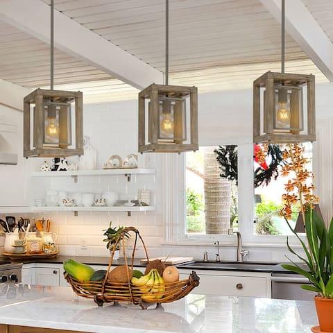 "Rustic Wood Cage 1-light Kitchen Islands Pendant Lights - L8""xW8""xH10.5"""
