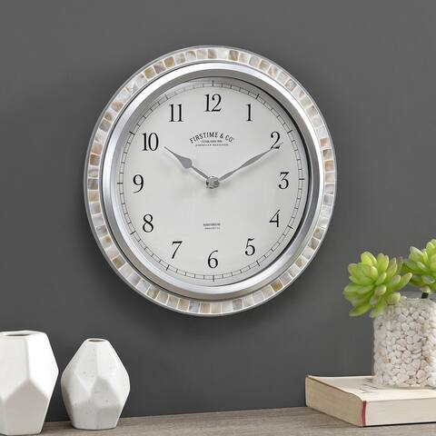 FirsTime & Co. Sophia Mosaic Wall Clock, American Crafted, Sandstone Mosaic, Plastic, 11.5 x 2 x 11.5 in