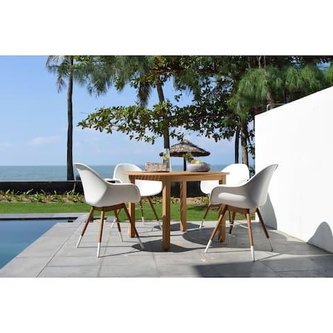 Lifestyle Garden 5-Piece Round Outdoor Wood Dining Set (Teak Finish)