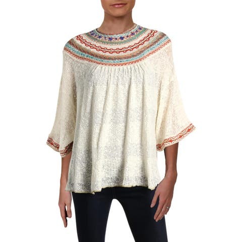Free People Womens Vacation Pullover Sweater Embroidered 3/4 Sleeves