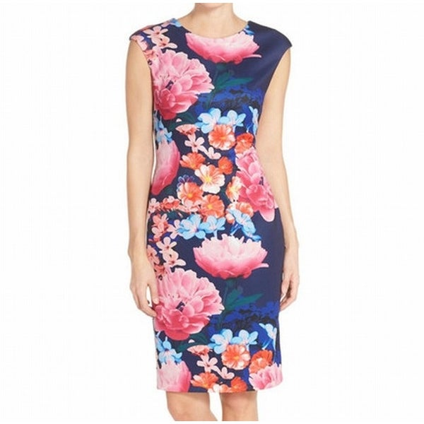 b095c59afefa Shop Vince Camuto NEW Blue Pink Women Size 6 Floral Print Scuba Sheath Dress  - Free Shipping Today - Overstock - 20222685