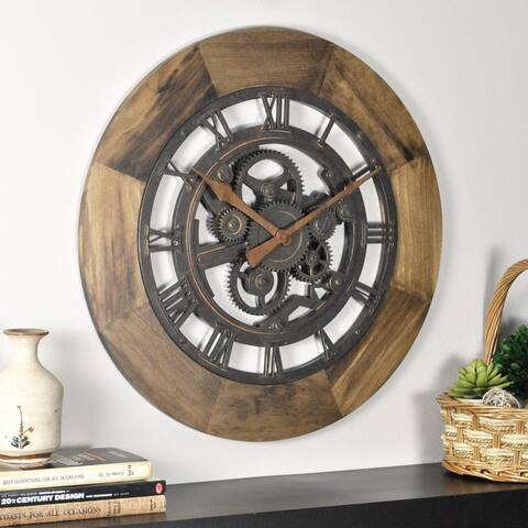 FirsTime & Co.® Wood Gear Wall Clock, American Crafted, Aged Brown, Wood, 19 x 2 x 19 in - 19 x 2 x 19 in