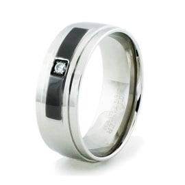 Stainless Steel High Polish Ring w/ Black Enamel Inlay & CZ