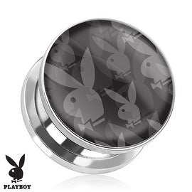Repeated Playboy Bunny Logo Print Screw Fit Plug 316L Surgical Steel (Sold Individually) (Option: 1'')
