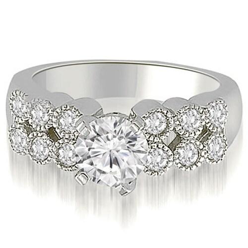 1.50 cttw. 14K White Gold Two Row Milgrain Round Cut Diamond Engagement Ring
