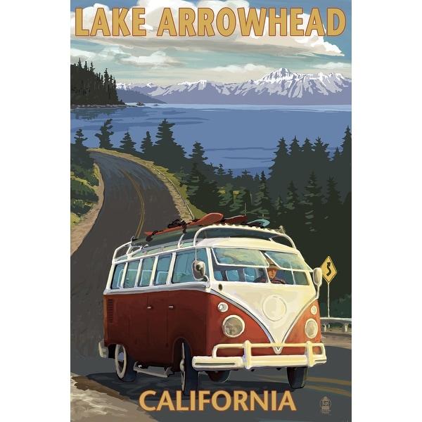 Lake Arrowhead, CA - VW Van Coastal - LP Artwork (100% Cotton Towel Absorbent)