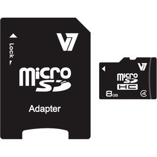 V7 VAMSDH8GCL4R-1N V7 VAMSDH8GCL4R-1N 8 GB microSDHC - Class 4 - 10 MB/s Read - 4 MB/s Write - 1 Card - Retail